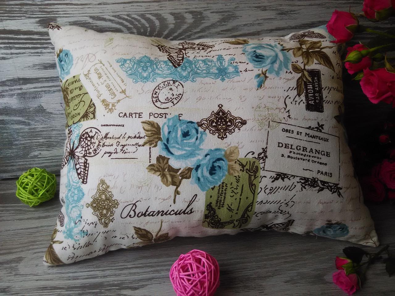 Подушка диванная бирюзовые письма,  40 см * 30 см