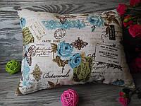 Подушка диванная бирюзовые письма,  42 см * 30 см