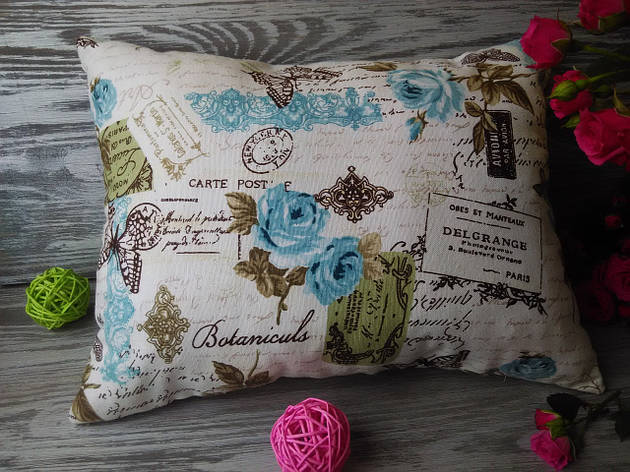 Подушка диванная бирюзовые письма,  40 см * 30 см, фото 2