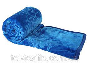 Плед акриловый с тиснением Elway синий (160х210)