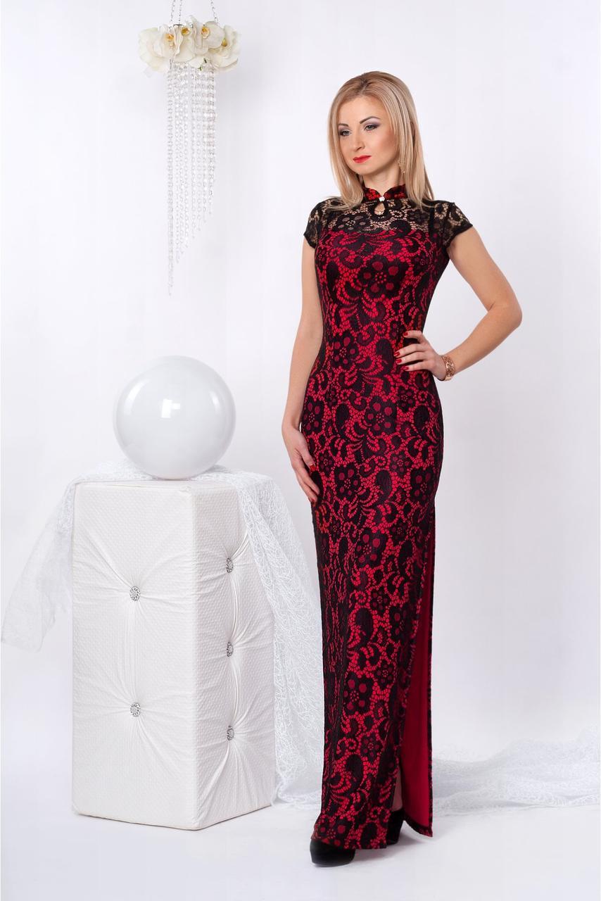dc20c10f459 Праздничное вечернее платье из гипюра с вырезом-капелькой -  Оптово-розничный магазин одежды