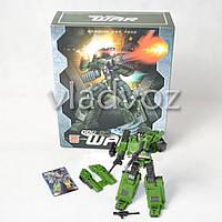 Игрушечный робот трансформер танк зелёный в коробке