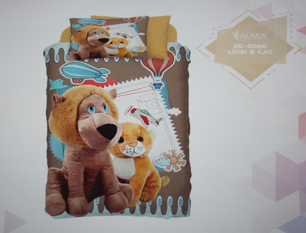 Детское постельное белье Alaca 3D Lion & Cat