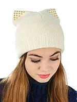 Вязаная женская шапка с ушами H30A