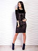 Нарядное платье из велюра с открытыми плечами р.42-48 VM2134-2