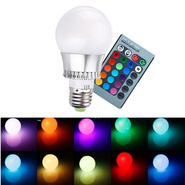 RGB E27 5W LED Рампы изменения цвета шар света Рампы дистанционное