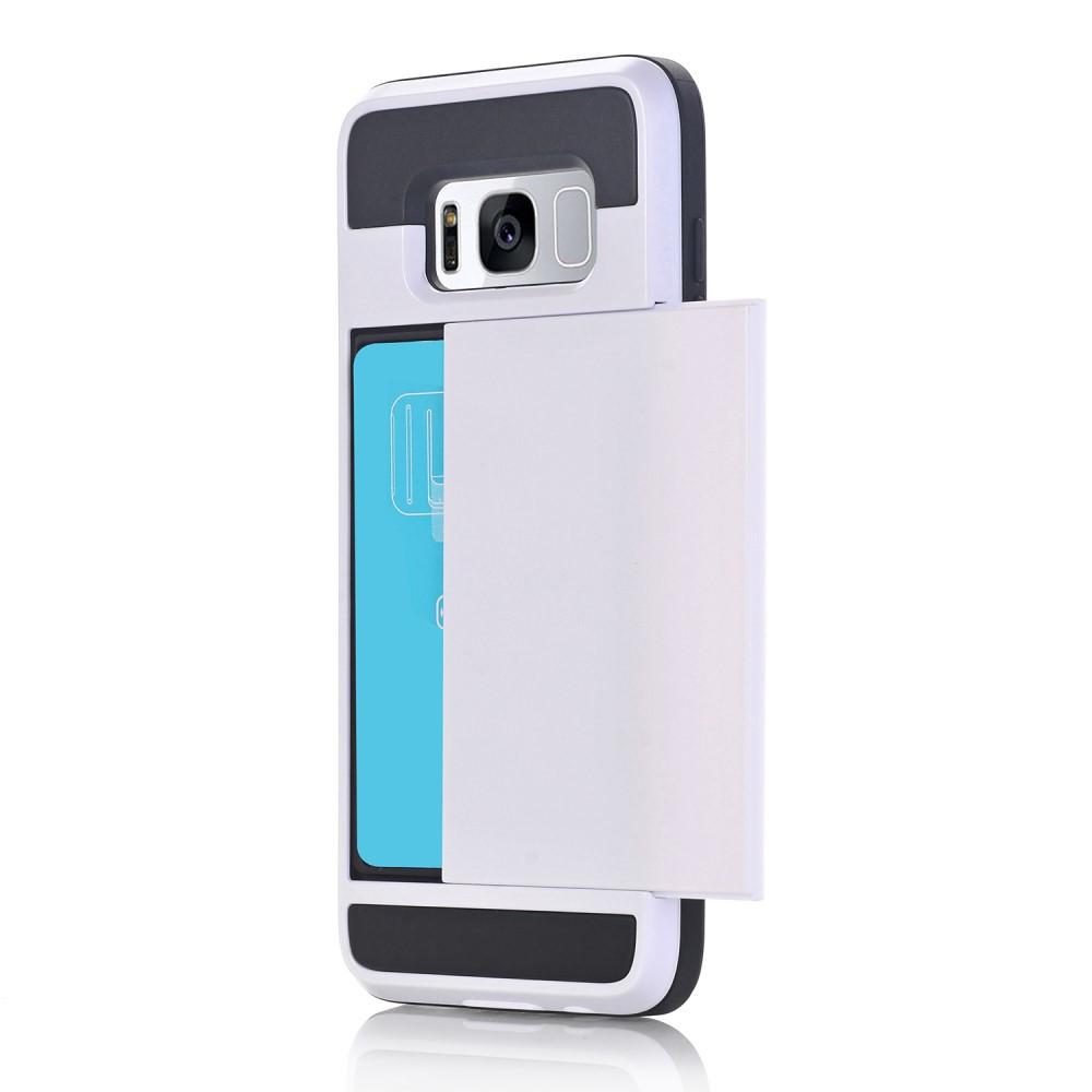 Чехол накладка для Samsung Galaxy S8 Plus G955 пластиковый с силиконом и отсеком для визиток, белый