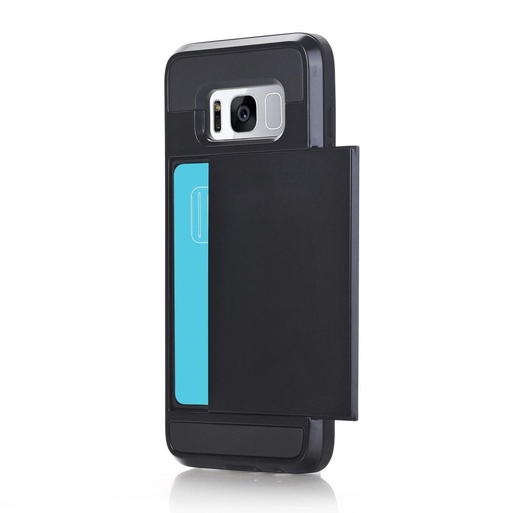 Чехол накладка для Samsung Galaxy S8 Plus G955 пластиковый с силиконом и отсеком для визиток, черный