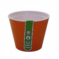 Горщик Ібіс з білим вкладом діаметр 17,9 см висота 14,7 см світло-помаранчевий Алеана