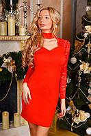 Женское красивое платье с гипюром ткань микро дайвинг красное, фото 1