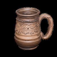 """Пивний бокал глиняний ручної роботи """"Селянський"""" 0.5 л розміри в асортименті"""