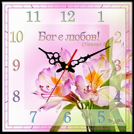 """Годинник настінний квадратний """"Бог є любов!"""", фото 2"""