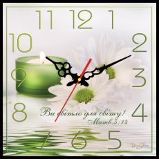 """Годинник настінний квадратний """"Ви світло для світу!"""", фото 2"""