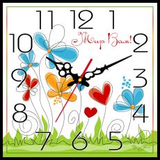 """Годинник настінний квадратний """"Мир вам!"""", фото 2"""