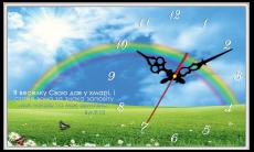 """Годинник настінний прямокутний """"Я веселку Свою дав у хмарі"""", фото 2"""