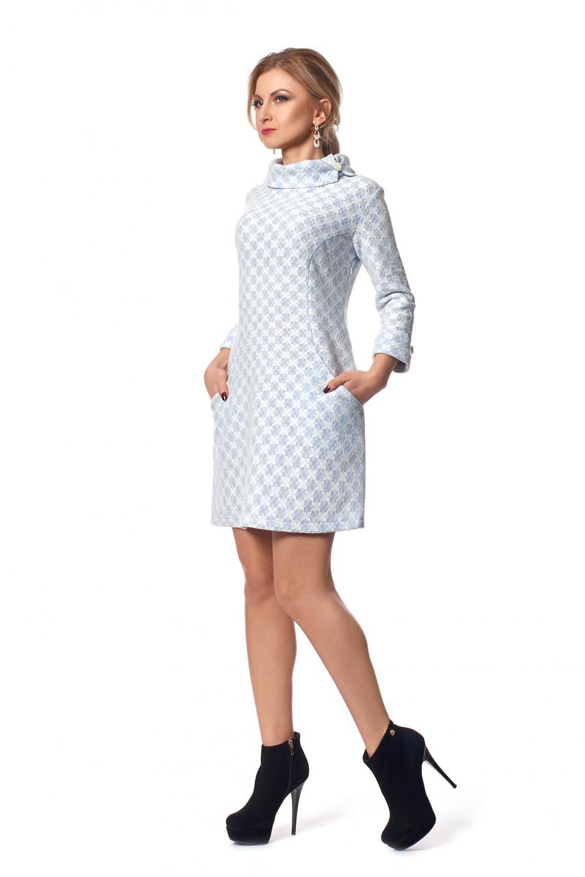 434afca06ec Голубое платье из шерсти с гипюром воротник-хомут - Оптово-розничный  магазин одежды