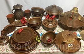 Набор посуды из красной глины на 6 персон