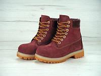 """Зимние ботинки на меху Timberland 6 inch """"Port Black"""" - """"Бордовые Черные"""" (Копия ААА+), фото 1"""