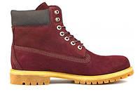 """Зимние ботинки на меху Timberland 6 inch """"Port Black"""" - """"Бордовые Черные"""""""