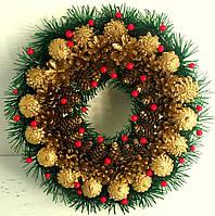 Різдвяний вінок із шишок золотий