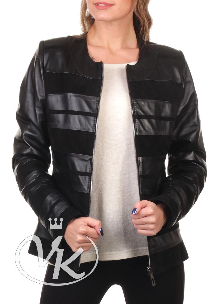 Кожаная куртка с замшевыми вставками черная женская (Арт. MED201)