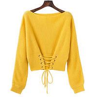 Женский вязаный свитер со шнуровкой спереди желтый, фото 1