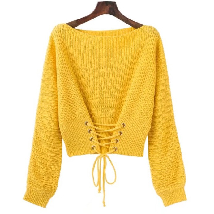 Женский вязаный свитер со шнуровкой спереди желтый