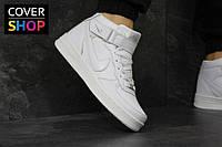 Мужские кроссовки Nike Air Force - white, материал - кожа, подошва - прошита
