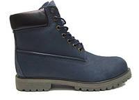 """Зимові черевики на хутрі Timberland 6 inch """"Blue Black"""" - """"Сині Чорні"""" (Копія ААА+)"""