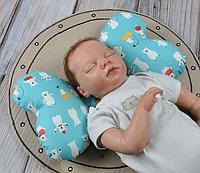 """Подушка в автокресло для новорожденных """"Butterfly"""" белый мишка"""
