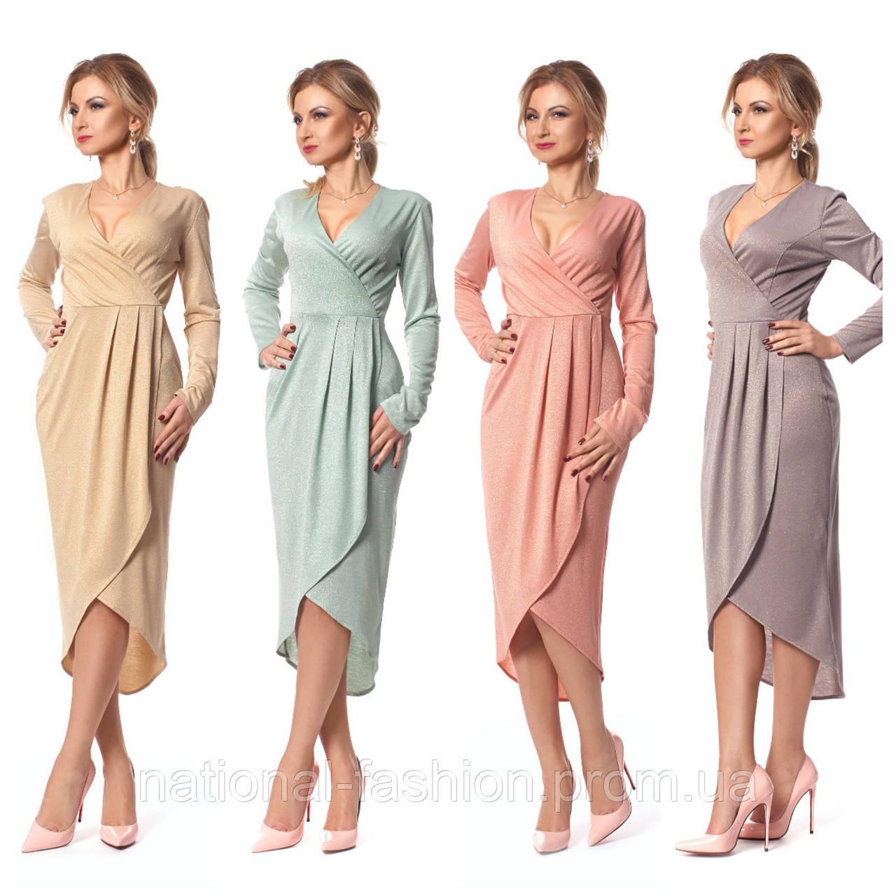 Женское платье миди с люрексом SL 1032 (р 40-50)