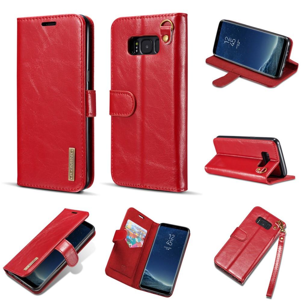 Чехол книжка для Samsung Galaxy S8 Plus G955 боковой из натуральной кожи со шнурком, DG.MING, красный