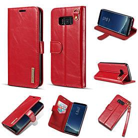 Чохол книжка для Samsung Galaxy S8 Plus G955 бічній з натуральної шкіри зі шнурком, DG.MING, червоний