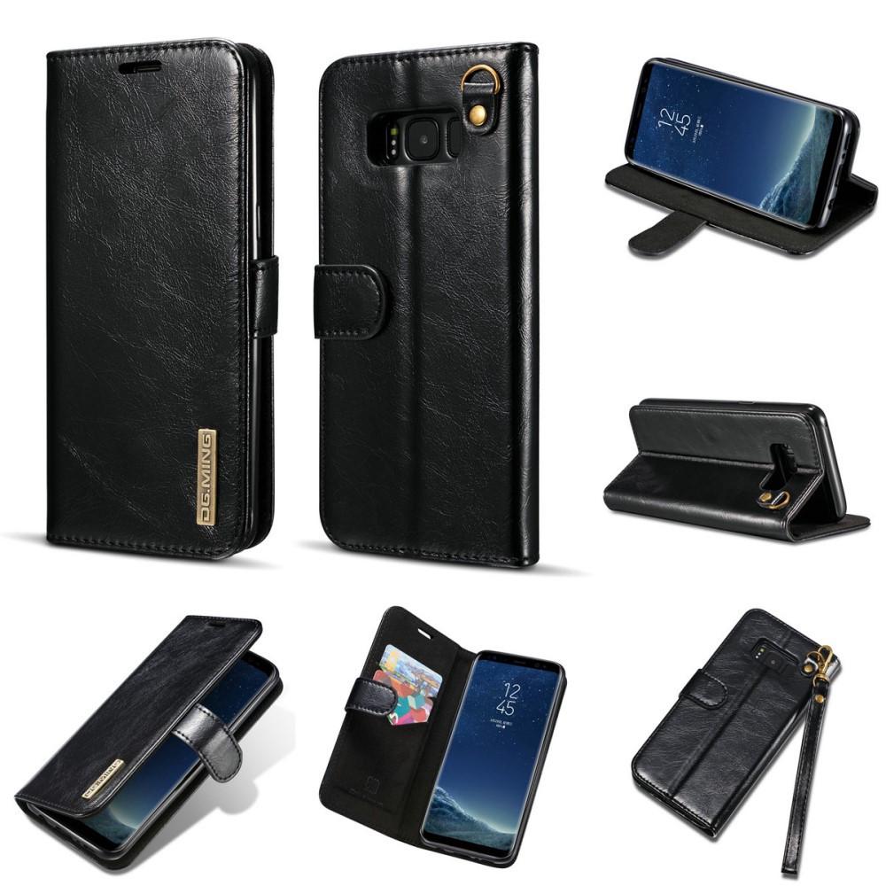 Чехол книжка для Samsung Galaxy S8 Plus G955 боковой из натуральной кожи со шнурком, DG.MING, черный