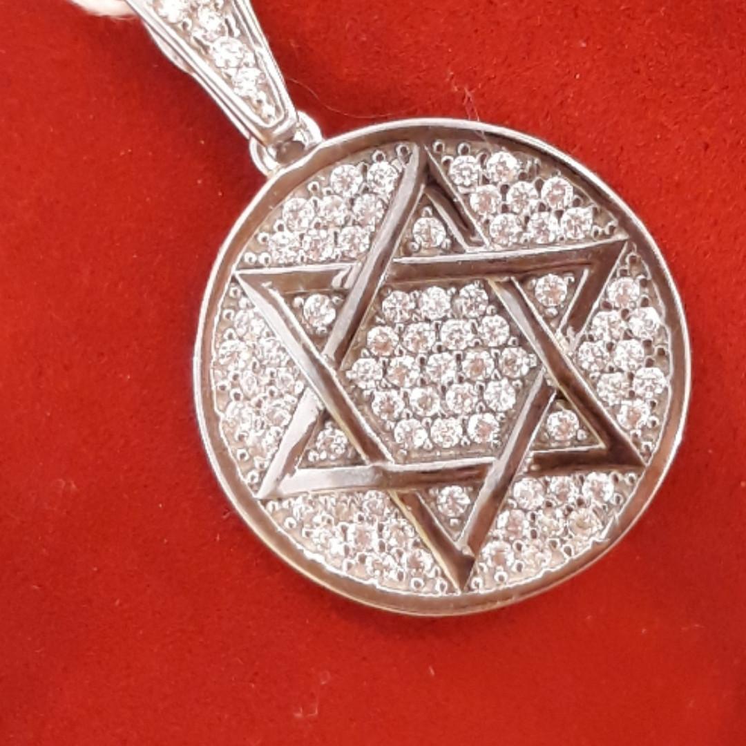 Кулон Зірка Давида з білого золота з фіанітами, 585 проби