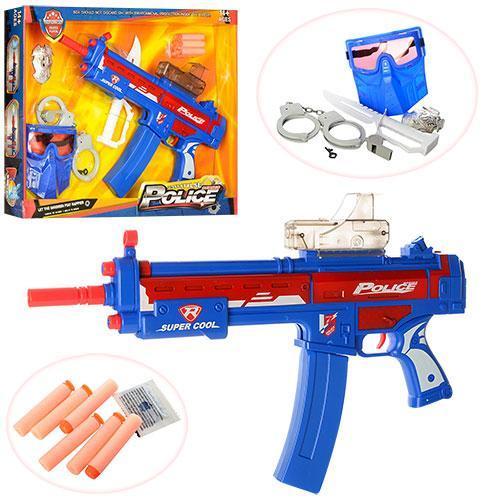 Набор полицейского: автомат, водные пули, мягкие пули, маска, наручники