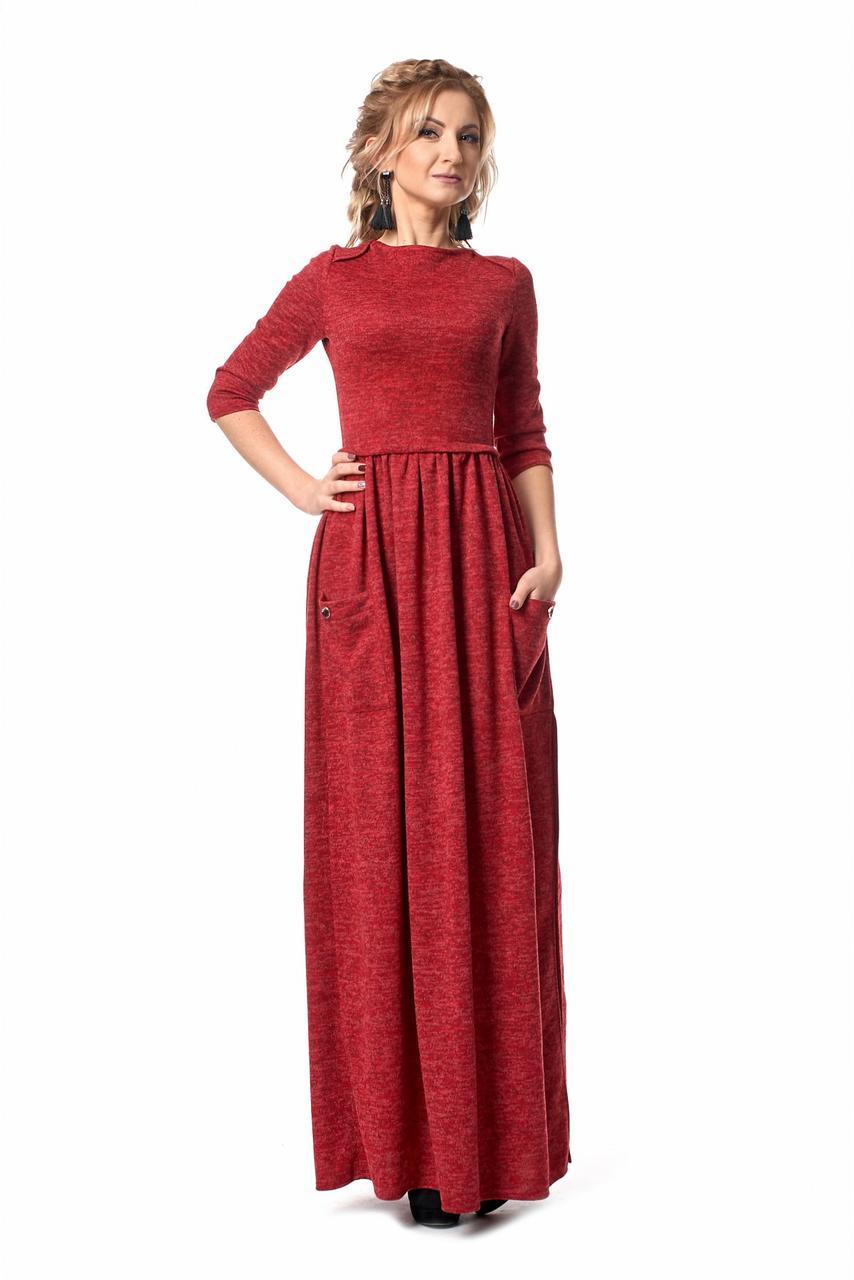 a941bb82cb59 Длинное дизайнерское платье из ангоры длина макси с карманами -  Оптово-розничный магазин одежды