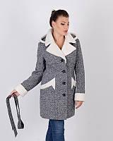 Зимнее пальто из твида с овчинкой 42-50р