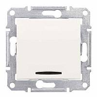 Sedna Выключатель 1-кл. проходной с синей подсветкой крем SDN1500123
