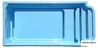 """Стеклопластиковый бассейн """"АТЛАНТИДА-6"""" (5,85 х 2,9 х 1,05/1,5м с перепадом глубины). В голубом цвет"""