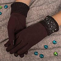 Женские перчатки коричневого цвета для смартфона на меху Корона G7363-9 brown
