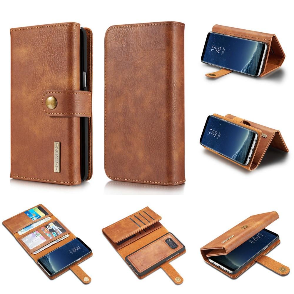 Чехол книжка для Samsung Galaxy S8 Plus G955 боковой с отсеком для визиток 2-в-1, DG.MING, коричневый