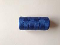 Нитка вощёная, плетенная, плоская, синего цвета, толщина - 1 мм, 130 метров, артикул СК 5186