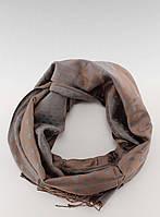 Коричнево-серый шарф-палантин в горошек SZ-9215