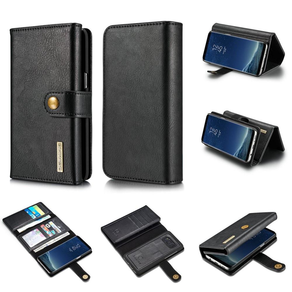 Чехол книжка для Samsung Galaxy S8 Plus G955 боковой с отсеком для визиток 2-в-1, DG.MING, черный