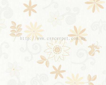 Обои моющиеся, в мелкий цветочек персикового цвета 587244.