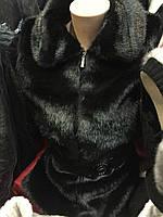 Теплый черный жилет из искуственного меха Мутон
