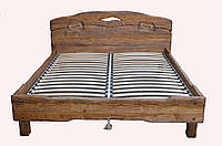 """Ліжко""""Вогонь""""дерев'яне з масиву під старовину двоспальне"""