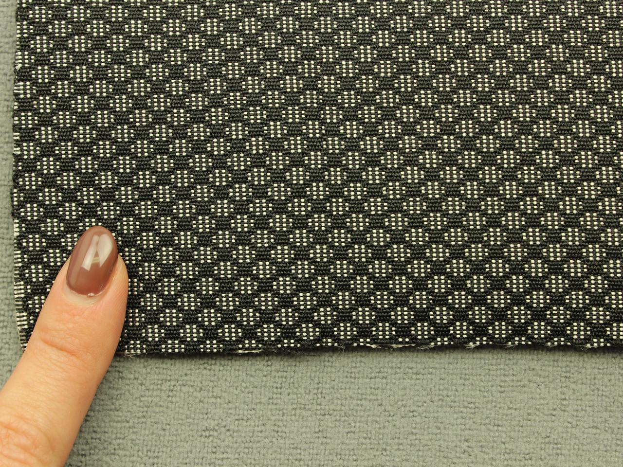Автоткань для сидений, для центральной части, цвет черно-белый, на поролоне (сетка), Польша