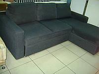 Современный угловой диван, мягкий уголок правый, темно серый б/у